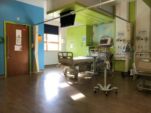Photo of a bed in a teenage cancer ward